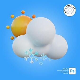 3d icona meteo nevoso soleggiato