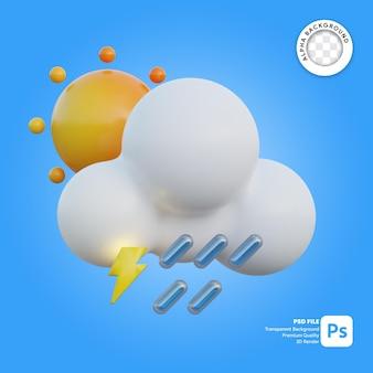 3d icona meteo soleggiato pioggia e tuoni