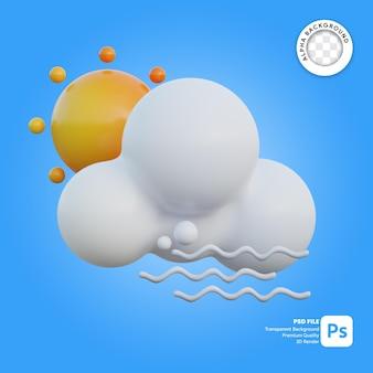 3d icona meteo giorno nuvoloso ventoso