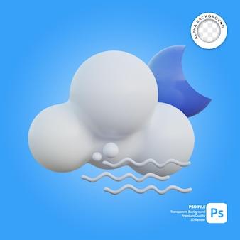 Icona 3d tempo ventoso nuvoloso notte