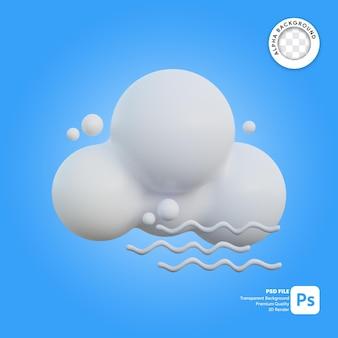 3d icona meteo ventoso nuvoloso