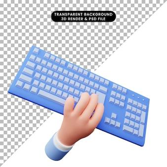 Illustrazione 3d della mano 3d con tastiera
