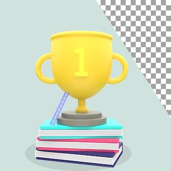 Illustrazione 3d del trofeo del successo e del libro psd