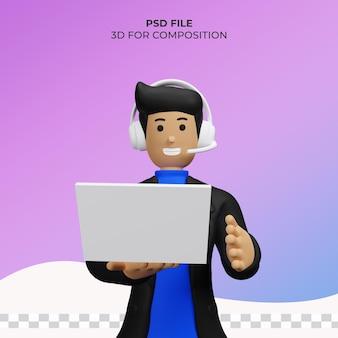 Amministrazione di illustrazione 3d marketing online psd premium