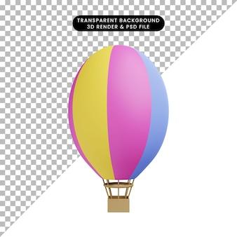 Illustrazione 3d di mongolfiera