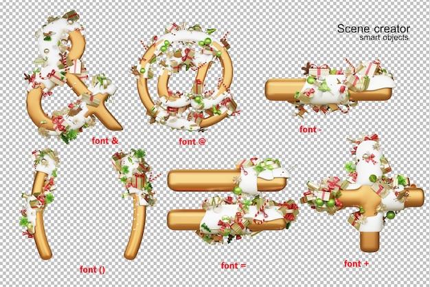 Alfabeto di illustrazione 3d il giorno di natale