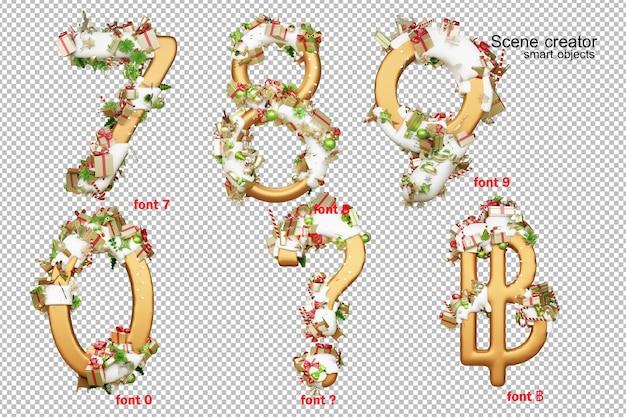 Alfabeto di illustrazione 3d il giorno di natale Psd Premium