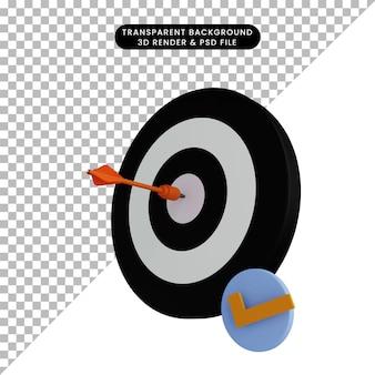 Illustrazione 3d della freccia sul bersaglio con l'icona della lista di controllo