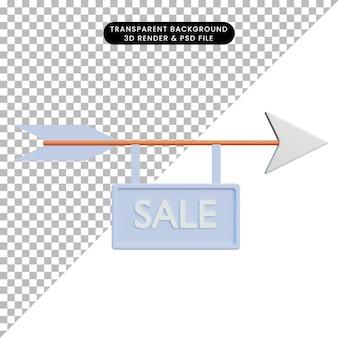 Freccia di illustrazione 3d con segno di vendita