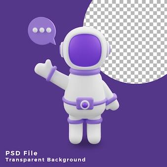3d illustrazione astronauta bolla chat design icona asset di alta qualità