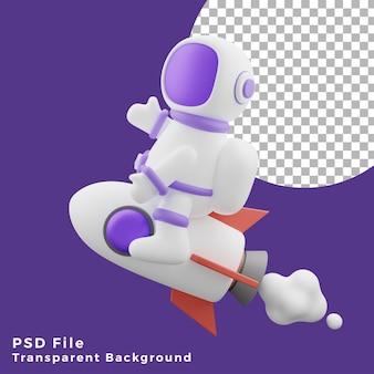 L'astronauta dell'illustrazione 3d che vola seduto sull'icona del design del razzo è di alta qualità
