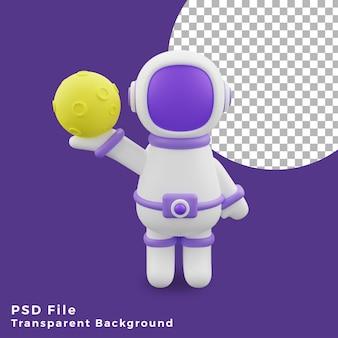 L'astronauta dell'illustrazione 3d che tiene l'icona del design del gesto della luna è di alta qualità
