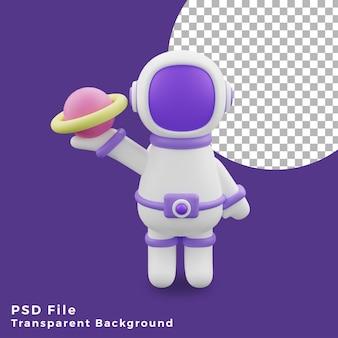 L'astronauta dell'illustrazione 3d che tiene l'icona del design del gesto del pianeta è di alta qualità