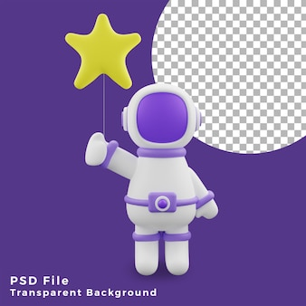 L'astronauta dell'illustrazione 3d che tiene l'icona del design del palloncino a forma di stella è di alta qualità