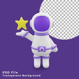 L'astronauta dell'illustrazione 3d che tiene l'icona del design del gesto della stella è di alta qualità