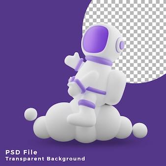 L'astronauta dell'illustrazione 3d che si siede sull'icona del design cloud è di alta qualità