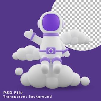 L'astronauta dell'illustrazione 3d che si siede sull'icona del design anteriore del cloud è di alta qualità