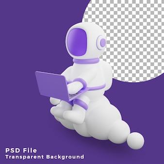 L'astronauta dell'illustrazione 3d che si siede sul cloud utilizzando l'icona del design del laptop asset di alta qualità