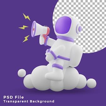 L'astronauta dell'illustrazione 3d seduto sul cloud utilizzando l'icona del design del megafono è di alta qualità