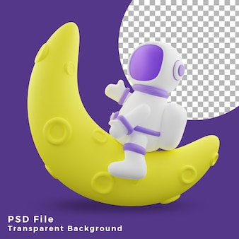 L'astronauta dell'illustrazione 3d seduto sull'icona del design a mezza luna è di alta qualità