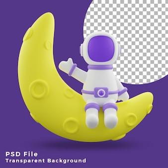 L'astronauta dell'illustrazione 3d che si siede sull'icona del design anteriore a mezza luna è di alta qualità