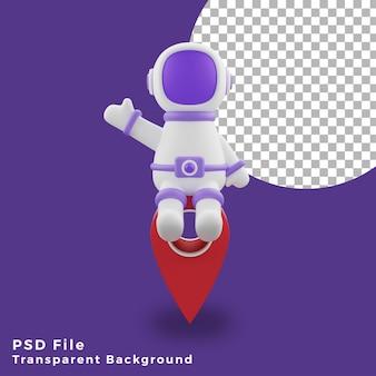 L'astronauta dell'illustrazione 3d che si siede sulla progettazione dell'icona di posizione asset di alta qualità