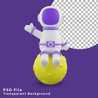 L'astronauta dell'illustrazione 3d che si siede sull'icona del design della luna è di alta qualità