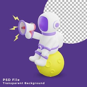 L'astronauta dell'illustrazione 3d che si siede sulla luna usando l'icona del design del megafono è di alta qualità