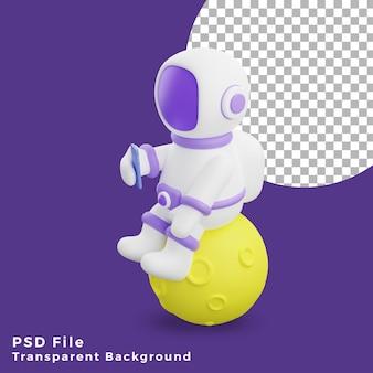 L'astronauta dell'illustrazione 3d seduto sulla luna utilizzando l'icona del design dello smartphone è di alta qualità