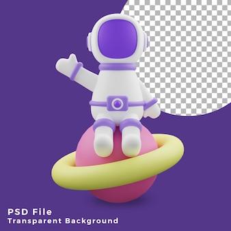 L'astronauta dell'illustrazione 3d che si siede sull'icona del design del pianeta è di alta qualità