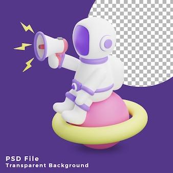 L'astronauta dell'illustrazione 3d che si siede sul pianeta usando l'icona del design del megafono è di alta qualità