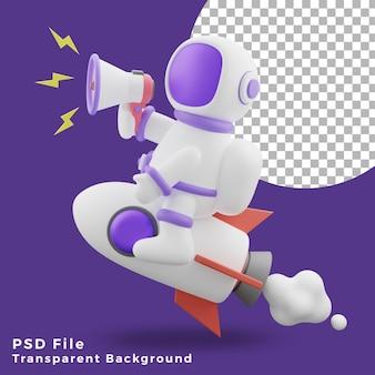 L'astronauta dell'illustrazione 3d seduto sul razzo utilizzando l'icona del design del megafono è di alta qualità