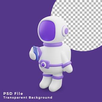 L'astronauta dell'illustrazione 3d che utilizza l'icona del design dello smartphone è di alta qualità