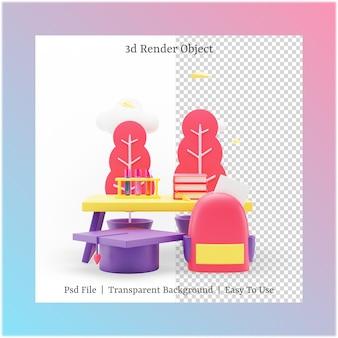 Illustrazione 3d della borsa e del cappello di laurea con il concetto di ritorno a scuola