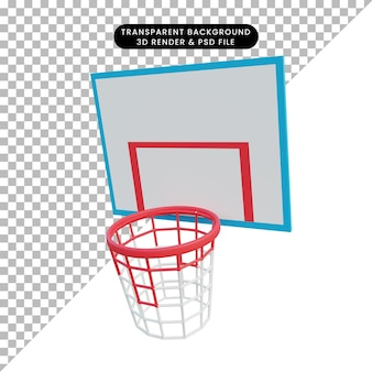 Anello da basket con illustrazione 3d