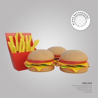 Illustrazione 3d di un grande pacchetto di hamburger e patatine fritte