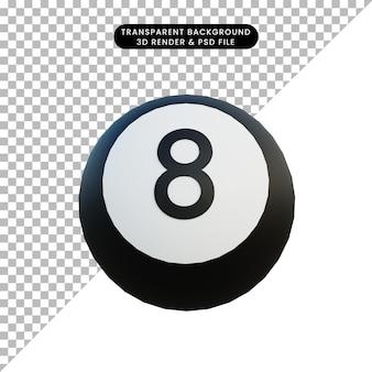 Palla da biliardo illustrazione 3d