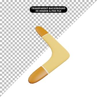 Illustrazione 3d del boomerang