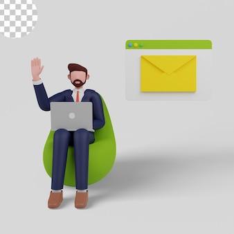 Illustrazione 3d. uomo d'affari che invia email marketing