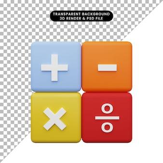 Illustrazione 3d del simbolo di calcolo