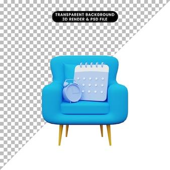 Illustrazione 3d del calendario e della sveglia sui divani