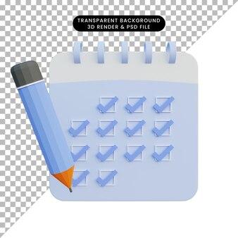 Illustrazione 3d della lista di controllo del calendario con la matita