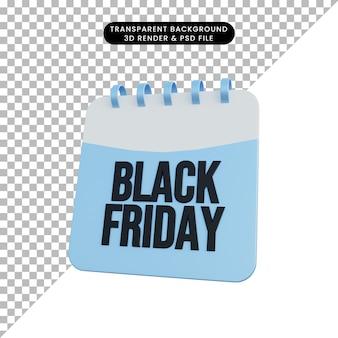 Calendario di illustrazione 3d con informazioni sul black friday