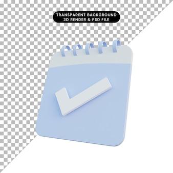 Calendario dell'illustrazione 3d con il segno della lista di controllo