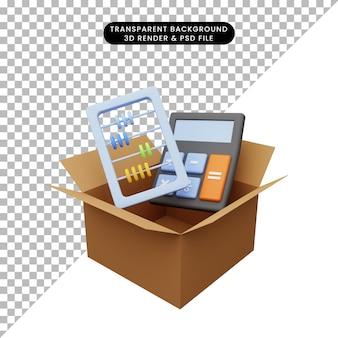 Illustrazione 3d di cartone con abaco calcolatrice