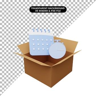 Illustrazione 3d di cartone con calendario e orologio