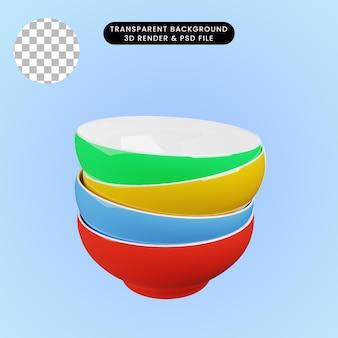 Illustrazione 3d della ciotola di ceramica