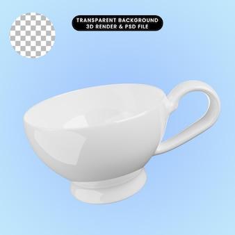Illustrazione 3d della tazza di caffè in ceramica