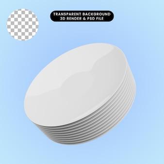 Illustrazione 3d del piatto in ceramica