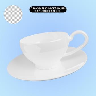 Illustrazione 3d della tazza da tè in ceramica con piatto